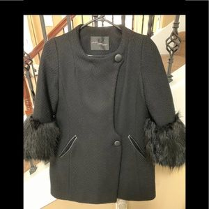 Wool coat with fox fur cuffs